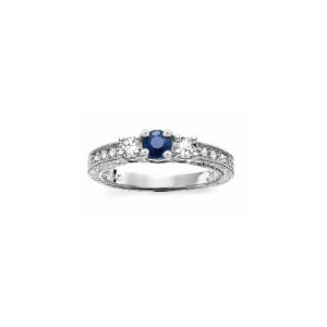 IMAGE OF 71-SD311 LADIES STONE RINGS_ENGAGEMENT STYLE SAPPHIRE AND DIAMOND RING