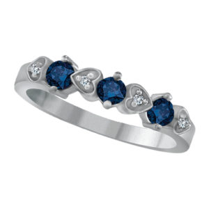 IMAGE OF 71-U40 LADIES STONE RINGS_BLUE SAPPHIRES AND DIAMOND BAND