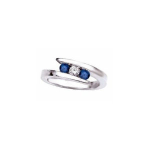 IMAGE OF 71-b193 LADIES STONE RINGS_BLUE SAPPHIRES AND DIAMOND RING