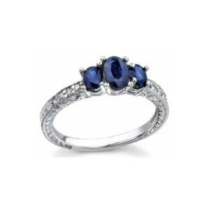 IMAGE OF 71-b1991 LADIES STONE RINGS_ENGAGEMENT STYLE SAPPHIRE AND DIAMOND RING