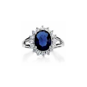 image of 75-1180 LADIES STONE RINGS_ENGAGEMENT STYLE SAPPHIRE AND DIAMOND RING