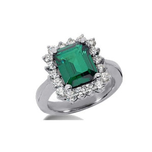 IMAGE OF 75-355 LADIES STONE RINGS_GENUINE EMERALD AND DIAMONDS