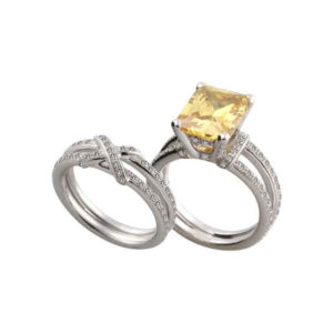 IMAGE OF 75-801 LADIES STONE RINGS_GENIUINE YELLOW TOPAZ AND DIAMONDS WITH MATCHING WEDDING RING