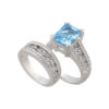 IMAGE OF 75-845 LADIES STONE RINGS_GENIUINE BLUE TOPAZ AND DIAMONDS WITH MATCHING WEDDING RING