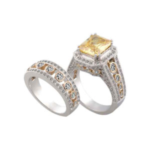 IMAGE OF 75-850 LADIES STONE RINGS_GENIUNE YELLOW TOPAZ AND DIAMONDS WITH MATCHING WEDDING RING