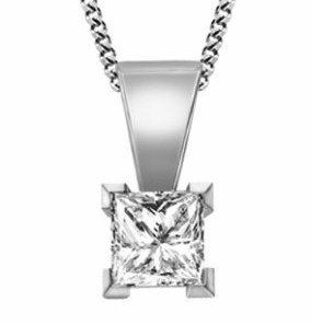 image of 0.10Ct. Diamond Set Pendant, Princess Cut With 18'' Chains