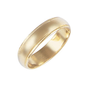 image of 11-110 Plain wedding bands_5mm low dome milled edge design high polished comfort fit