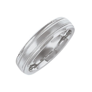 image of 11-112 Plain wedding bands_5mm low dome milled edge design high polished comfort fit