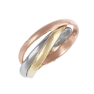 image of 11-15 Plain wedding bands_Tri color 2mm wide interlocking design high polished comfort fit