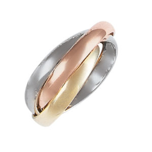 image of 11-151 Plain wedding bands_Tri color 3mm wide interlocking design high polished comfort fit