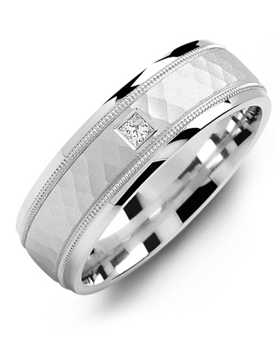 image of 21-632 Men Diamond wedding bands_White gold set with total of 0.10ct. princess cut diamonds