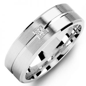 image of 21-633 Men Diamond wedding bands_White gold set with total of 0.10ct. princess cut diamonds