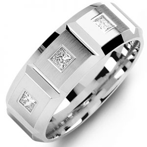 image of 21-635 Men Diamond wedding bands_White gold set with total of 3 diamonds 0.25ct. princess cut diamonds