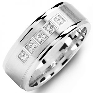 image of 21-636 Men Diamond wedding bands_White gold set with total of 5 diamonds 0.35ct. princess cut diamonds