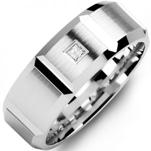 image of 21-638 Men Diamond wedding bands_White gold set with total of 0.10ct. princess cut diamonds