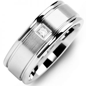 image of 21-642 Men Diamond wedding bands_White gold set with total of 0.10ct. princess cut diamonds
