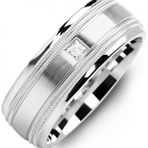 image of 21-643 Men Diamond wedding bands_White gold set with total of 0.10ct. princess cut diamonds