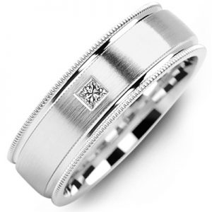 image of 21-645 Men Diamond wedding bands_White gold set with total of 0.10ct. princess cut diamonds