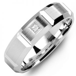 image of 21-646 Men Diamond wedding bands_White gold set with total of 0.10ct. princess cut diamonds