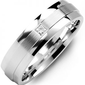 image of 21-647 Men Diamond wedding bands_White gold set with total of 0.10ct. princess cut diamonds