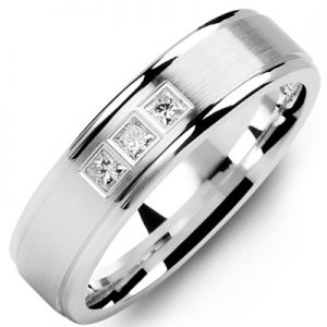 image of 21-648 Men Diamond wedding bands_White gold set with total of 0.15ct. princess cut diamonds