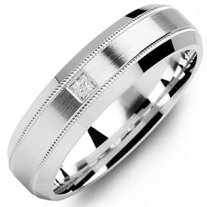 image of 21-649 Men Diamond wedding bands_White gold set with total of 0.10ct. princess cut diamonds