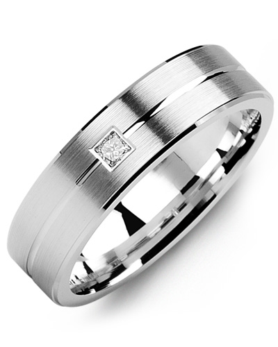 image of 21-650 Men Diamond wedding bands_White gold set with total of 0.10ct. princess cut diamonds