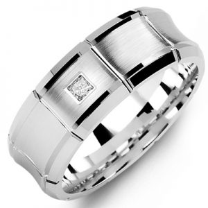 image of 21-651 Men Diamond wedding bands_White gold set with total of 0.10ct. princess cut diamonds