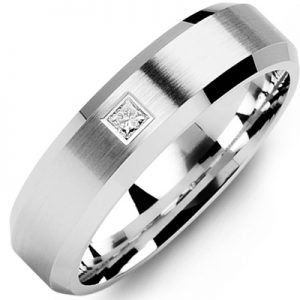 image of 21-652 Men Diamond wedding bands_White gold set with total of 0.10ct. princess cut diamonds