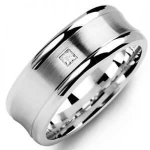image of 21-653 Men Diamond wedding bands_White gold set with total of 0.10ct. princess cut diamonds
