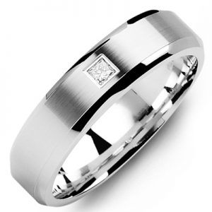 image of 21-654 Men Diamond wedding bands_White gold set with total of 0.10ct. princess cut diamonds