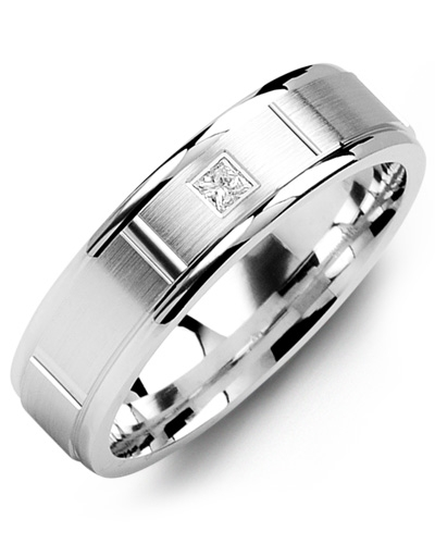 image of 21-655 Men Diamond wedding bands_White gold set with total of 0.10ct. princess cut diamonds