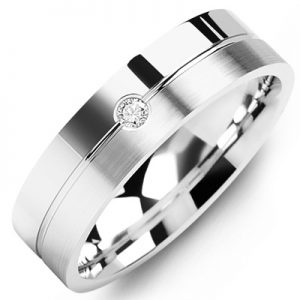 image of 21-657 Men Diamond wedding bands_White gold set with total of 0.05ct. total weight_