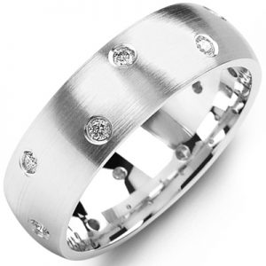 image of 21-658 Men Diamond wedding bands_White gold set with total of 8 diamonds 0.25ct. total weight_