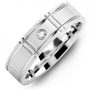 image of 21-661 Men Diamond wedding bands_White gold set with total of 0.05ct. total weight_