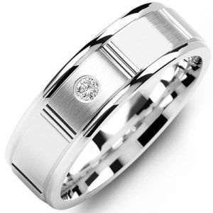 image of 21-664 Men Diamond wedding bands_White gold set with total of 0.05ct. total weight_