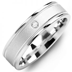 image of 21-665 Men Diamond wedding bands_White gold set with total of 0.05ct. total weight_