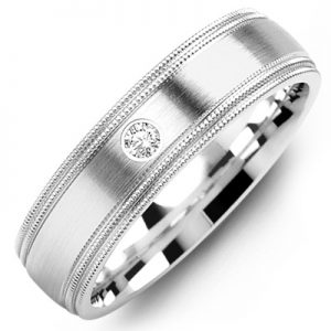 image of 21-669 Men Diamond wedding bands_White gold set with total of 0.05ct. total weight_