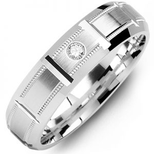 image of 21-670 Men Diamond wedding bands_White gold set with total of 0.05ct. total weight_