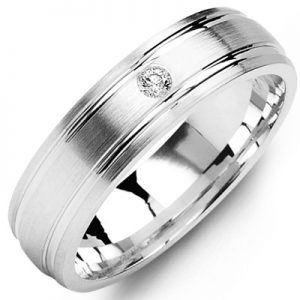 image of 21-672 Men Diamond wedding bands_White gold set with total of 0.05ct. total weight_