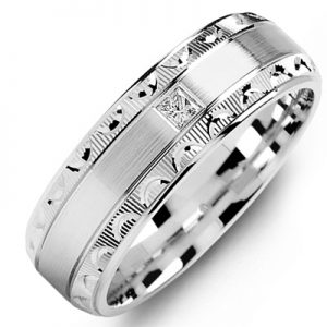 image of 21-673 Men Diamond wedding bands_White gold set with total of 0.10ct. princess cut diamonds