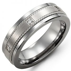 image of 21-689 Men Diamond wedding bands_White gold set with total of 8 diamonds 0.15ct. round cut diamonds