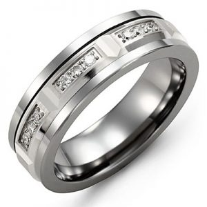 image of 21-690 Men Diamond wedding bands_White gold set with total of 21 diamonds 0.25ct. total weight_