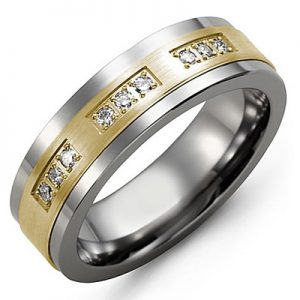 image of 21-691 Men Diamond wedding bands_White gold set with total of 21 diamonds round cut 0.25ct. total weight_