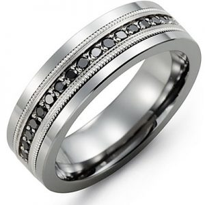 image of 21-692 Men Diamond wedding bands_White gold set with total of Black diamonds round cut 0.50ct. total weight_