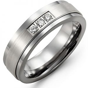image of 21-693 Men Diamond wedding bands_White gold set with total of 3 diamonds round cut 0.08ct. total weight_