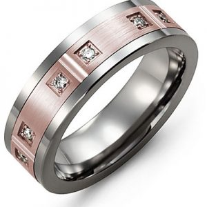 image of 21-696 Men Diamond wedding bands_White gold set with total of 12 diamonds round cut 0.20ct. total weight_