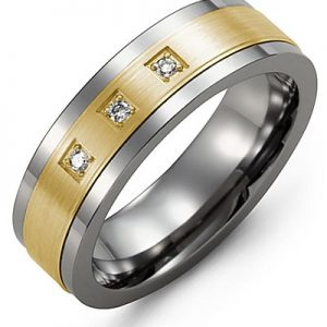 image of 21-698 Men Diamond wedding bands_White gold set with total of 3 diamonds round cut 0.06ct. total weight_