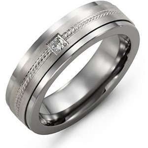 image of 21-699 Men Diamond wedding bands_White gold set with total of 0.05ct. round cut diamonds