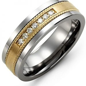 image of 21-701 Men Diamond wedding bands_White gold set with total of 7 diamonds round cut 0.11ct. total weight_
